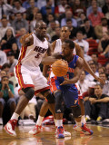 Detroit Pistons v Miami Heat: Will Bynum and Joel Anthony Photographic Print by Mike Ehrmann