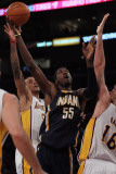 Indiana Pacers v Los Angeles Lakers: Pau Gasol, Roy Hibbert and Matt Barnes Photographic Print by Jeff Gross