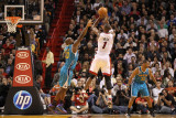 New Orleans Hornets v Miami Heat: Chris Bosh and Emeka Okafor Photographic Print by Mike