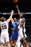 Orlando Magic v San Antonio Spurs: J.J. Redick, Matt Bonner and Antonio McDyess Photographic Print by D. Clarke Evans