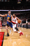 Golden State Warriors v Portland Trail Blazers: Vladimir Radmanovic and Patrick Mills Photographic Print by Sam Forencich