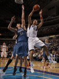 Minnesota Timberwolves v Dallas Mavericks: Dirk Nowitzki and Darko Milicic Photographic Print by Danny Bollinger