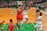 Chicago Bulls v Boston Celtics: Marquis Daniels and Joakim Noah Photographic Print by Brian Babineau