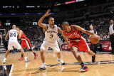 Portland Trail Blazers v San Antonio Spurs: Andre Miller and George Hill Photographic Print by D. Clarke Evans