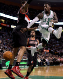 Portland Trail Blazers v Boston Celtics: Nate Robinson and LaMarcus Aldridge Photographic Print by Elsa .