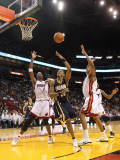 Indiana Pacers v Miami Heat: Brandon Rush and Chris Bosh Photographic Print by Mike Ehrmann