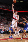Golden State Warriors v Portland Trail Blazers: Reggie Williams and Rudy Fernandez Photographic Print by Sam Forencich