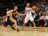 Los Angeles Lakers v Toronto Raptors: Jerryd Bayless and Steve Blake Photographic Print by Ron Turenne