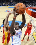 Houston Rockets v Oklahoma City Thunder: Serge Ibaka and Luis Scola Photo by Larry W. Smith