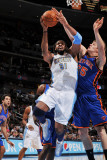 New York Knicks v Denver Nuggets: Nene and Timofey Mozgov Photographic Print by Garrett Ellwood