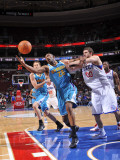 New Orleans Hornets v Philadelphia 76ers: Didier Ilunga-Mbenga and Spencer Hawes Photographic Print by David Dow