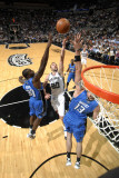 Orlando Magic v San Antonio Spurs: Manu Ginobili, Marcin Gortat and Brandon Bass Photographic Print by D. Clarke Evans