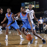 Tulsa 66ers v Texas Legends: Jerome Dyson, Antonio Daniels and Marcus Lewis Photographic Print by Layne Murdoch