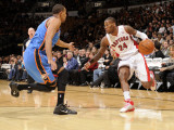 Oklahoma City Thunder v Toronto Raptors: Sonny Weems and Thabo Sefolosha Photographic Print by Ron Turenne
