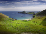 View of a Ship in a Bay on Lush St Kilda Fotografiskt tryck av Jim Richardson