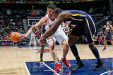 Indiana Pacers v Atlanta Hawks: Zaza Pachulia and Solomon Jones Photographic Print by Kevin Cox