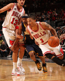 Indiana Pacers v Chicago Bulls: Derrick Rose, T.J. Ford and Joakim Noah Photographic Print by Ray Amati