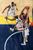 Detroit Pistons v Memphis Grizzlies: Greg Monroe, Darrell Arthur and Marc Gasol Photographic Print by Joe Murphy