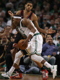 Portland Trail Blazers v Boston Celtics: Paul Pierce and Nicolas Batum Photographic Print by Elsa .