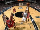Portland Trail Blazers v San Antonio Spurs: Tony Parker and Andre Miller Photographic Print by D. Clarke Evans