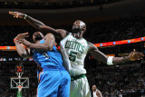 Oklahoma City Thunder v Boston Celtics: Serge Ibaka and Kevin Garnett Photographic Print by Brian Babineau