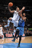 Minnesota Timberwolves v Denver Nuggets: J.R. Smith and Corey Brewer Photographic Print by Garrett Ellwood