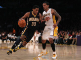 Indiana Pacers v Los Angeles Lakers: Danny Granger and Matt Barnes Photographic Print by Jeff Gross