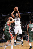 Milwaukee Bucks v San Antonio Spurs: Tim Duncan and Andrew Bogut Photographic Print by D. Clarke Evans