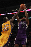 Sacramento Kings v Los Angeles Lakers: DeMarcus Cousins and Derrick Caracter Photographic Print by Jeff Gross