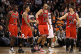 Chicago Bulls v Phoenix Suns: Derrick Rose, Joakim Noah and Kyle Korver Photographic Print by Christian Petersen