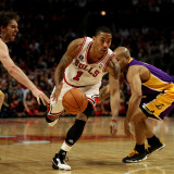 Los Angeles Lakers v Chicago Bulls: Derrick Rose, Pau Gasol and Derek Fisher Photographic Print by Jonathan Daniel