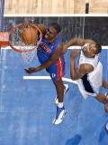 Detroit Pistons v Orlando Magic: Jason Maxiell and Rashard Lewis Photographic Print by Fernando Medina