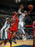 Portland Trail Blazers v Memphis Grizzlies: Mike Conley and Dante Cunningham Photographic Print by Joe Murphy