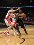 Denver Nuggets v Toronto Raptors: Andrea Bargnani and Nene Photographic Print by Ron Turenne