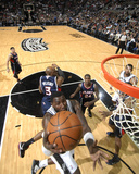 Atlanta Hawks v San Antonio Spurs: DeJuan Blair and Damien Wilkins Photographic Print by D. Clarke Evans
