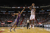 Phoenix Suns v Miami Heat: LeBron James and Josh Childress Photographic Print by Mike Ehrmann