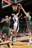 Milwaukee Bucks v San Antonio Spurs: Tony Parker, Drew Gooden and Andrew Bogut Photographic Print by D. Clarke Evans