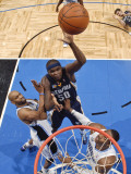 Memphis Grizzlies v Orlando Magic: Zach Randolph, Vince Carter and Dwight Howard Photographic Print by Fernando Medina