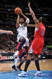 Los Angeles Clippers v Denver Nuggets: Nene and Deandre Jordan Photographic Print by Garrett Ellwood