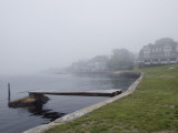 A Riverside Estate with a Small Pier Shrouded in Fog Photographic Print by Todd Gipstein