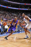 Los Angeles Lakers v Philadelphia 76ers: Kobe Bryant and Andre Iguodala Photographic Print by David Dow