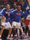 Toronto Raptors v Detroit Pistons: Richard Hamilton, Tayshaun Prince and Rodney Stuckey Fotografisk tryk af Allen Einstein