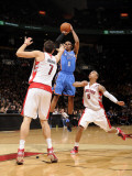 Oklahoma City Thunder v Toronto Raptors: Russell Westbrook and Andrea Bargnani Photographic Print by Ron Turenne