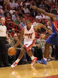 Detroit Pistons v Miami Heat: Mario Chalmers Photographic Print by Mike Ehrmann