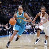 New Orleans Hornets v Oklahoma City Thunder: Jarrett Jack and D.J. White Photographic Print by Layne Murdoch