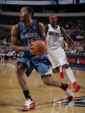 Minnesota Timberwolves v Dallas Mavericks: Wayne Ellington and Jason Terry Photographic Print by Glenn James