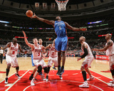 Oklahoma City Thunder v Chicago Bulls: Serge Ibaka and Omer Asik Photographic Print by Joe Murphy