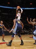 Denver Nuggets v Toronto Raptors: Sonny Weems and Shelden Williams Photographic Print by Ron Turenne