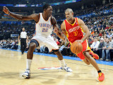 Houston Rockets v Oklahoma City Thunder: Jeff Green and Shane Battier Impressão fotográfica por Larry W. Smith