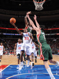 Milwaukee Bucks v Philadelphia 76ers: Lou Williams, Larry Sanders and Ersan Ilyasova Photographic Print by Jesse D. Garrabrant